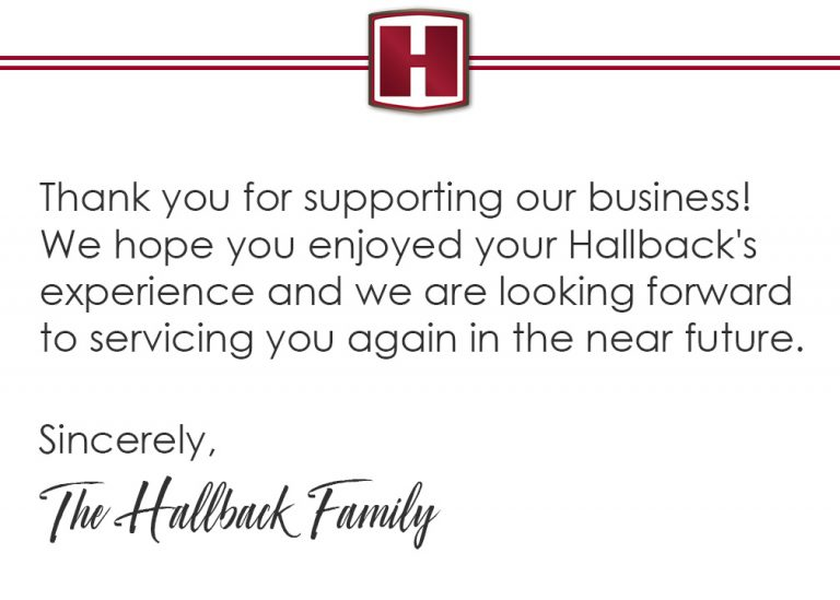 Hallback's Thank You Card by Conor J. Green